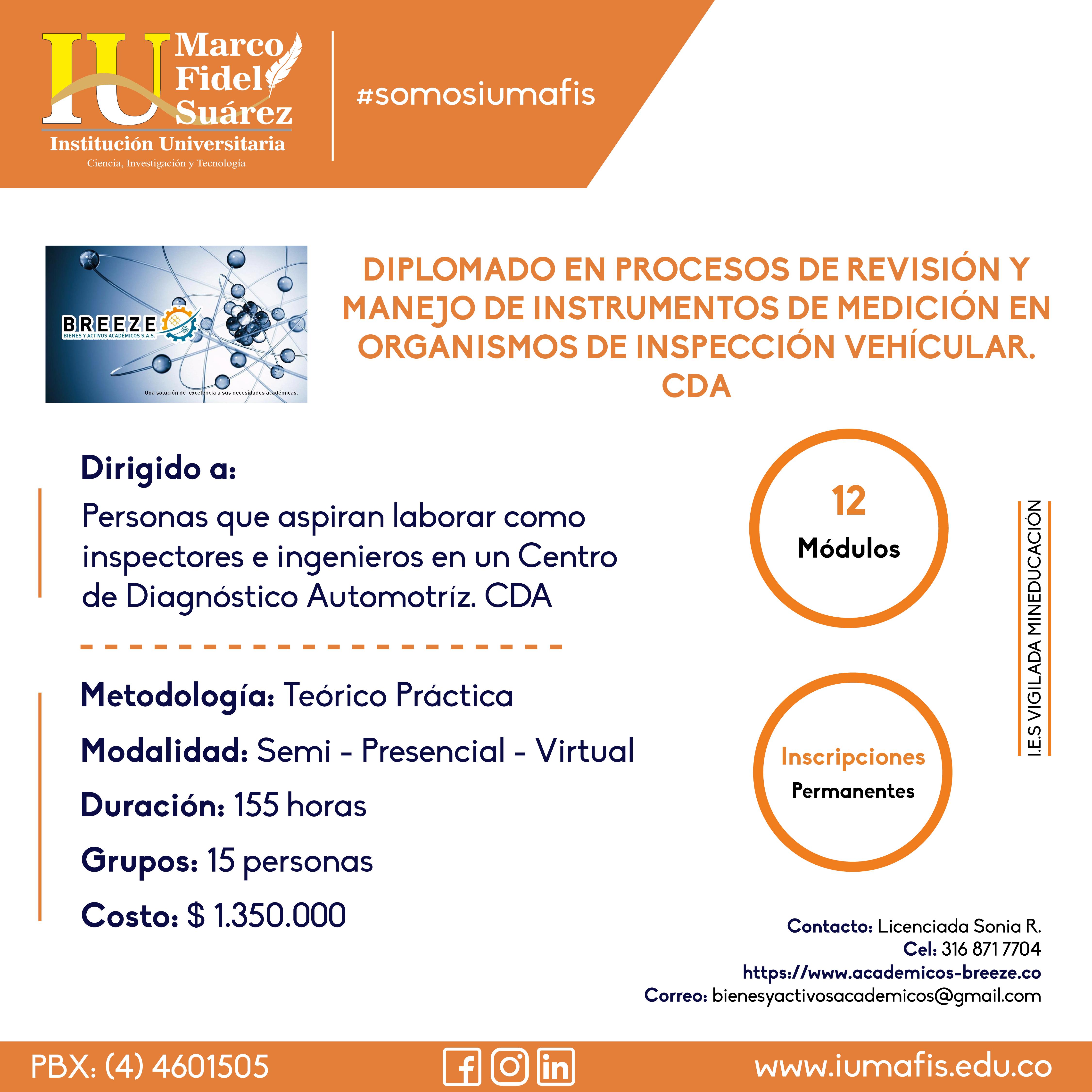 Diplomado en procesos de revisión y manejo de instrumentos de medición en organismos de inspección vehicular